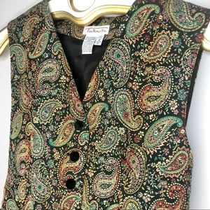 Vintage Talbots Paisley Embroidered Vest size 4